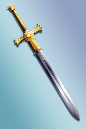 honour guard: two-handed sword decorated with gold with the image of the sun Stock Photo