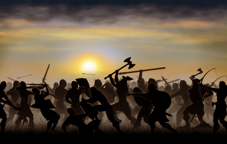 silhouettes fighting warriors are seen against the background of the rising sun Stock Photo