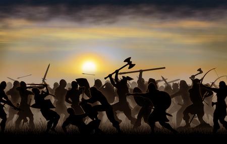 siluetas lucha warrs son vistos en el contexto de la salida del sol Foto de archivo