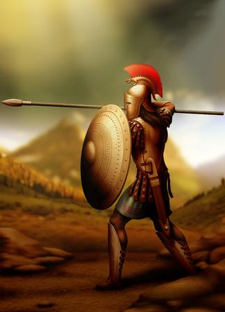 Greek warrior prepared for battle