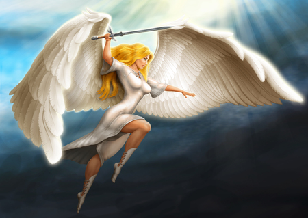 girl - an angel armed with a sword flies in the rays of the sun 스톡 콘텐츠