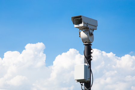 close circuit camera: closed circuit camera outdoor on blue sky background