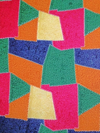 stitch: A textile stitch in criss-crossed.  Stock Photo