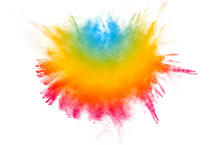 Explosion of color powder on white background. Stock Photo