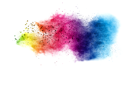 Explosion of color powder on white background