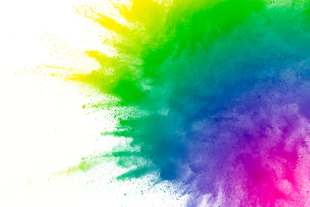 Multicolored powder explosion on white background. 스톡 콘텐츠