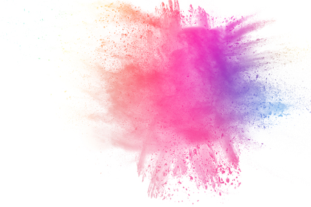Colored dust splash cloud on white background. Launched colorful particles on background.