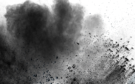 abstract black dust explosion on white background.
