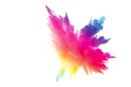 Abstract multicolored powder explosion on white background.  Freeze motion of color dust  particles splash. Painted Holi Banque d'images - 97829764