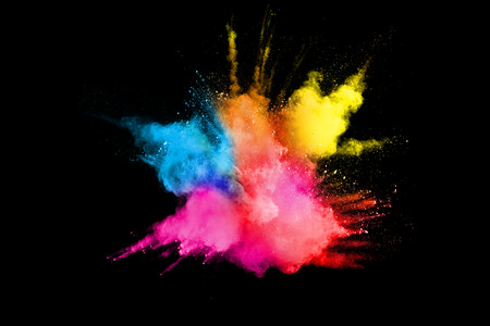 Multicolored powder explosion isolated on white background. Colored dust splash cloud  on white background. Launched colorful particles on background. 版權商用圖片