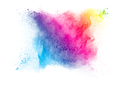 Multicolored powder explosion isolated on white background. Colored dust splash cloud  on white background. Launched colorful particles on background. Standard-Bild