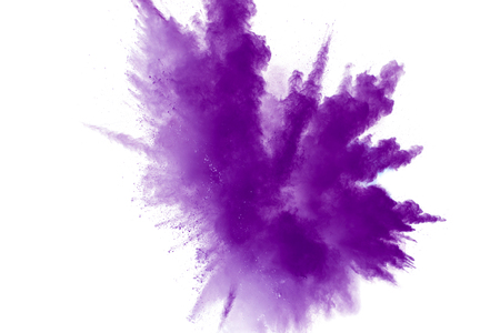 abstract explosion of purple dust on white background.Abstract purple powder splatter on white  background. Freeze motion of  purple powder splash. Stock Photo