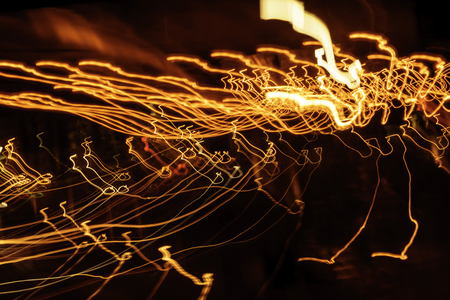 Night city street lights background and street lights blur bokeh,Colorful circles of light abstract background. Stock Photo