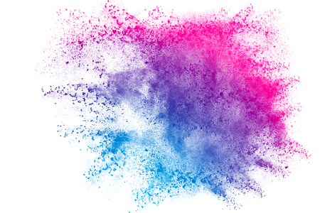 Blue pink red powder explosion on white background. Colored cloud. Colorful dust explode. Paint Holi.abstract multicolored dust splatter on white background