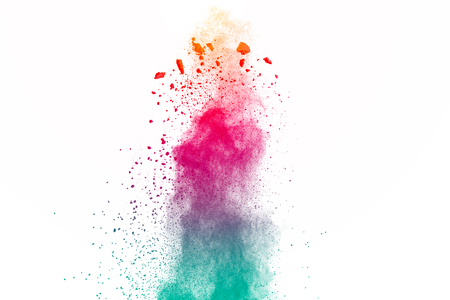 Multicolored powder explosion on white background. Colored cloud. Colorful dust explode. Paint Holi.abstract multicolored dust splatter on white background Banque d'images - 115991763