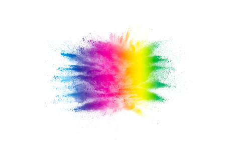Multicolored powder explosion on white background. Colored cloud. Colorful dust explode. Paint Holi.abstract multicolored dust splatter on white background Banque d'images - 115991787