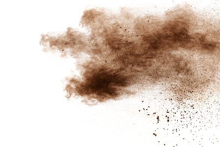 brown color powder explosion  on white background. Banque d'images - 115991793