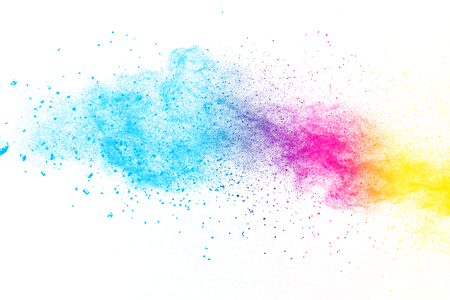Multi color powder explosion  on white background. Banque d'images - 115991794