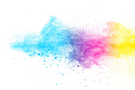 Multi color powder explosion  on white background. Banque d'images - 115991797
