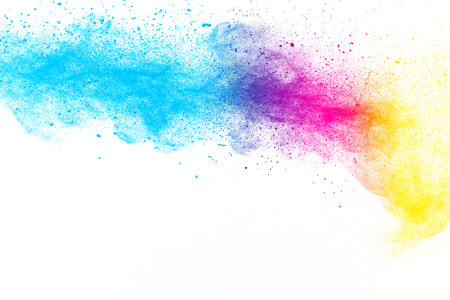 Multi color powder explosion  on white background. Banque d'images - 115991799