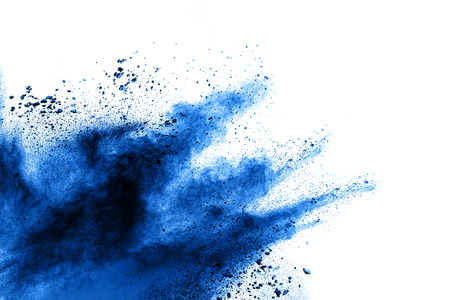 Blue color powder explosion  on white background. Banque d'images - 115991804