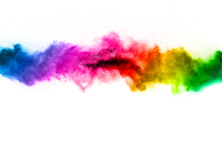 Multi color powder explosion  on white background. Banque d'images - 115991846