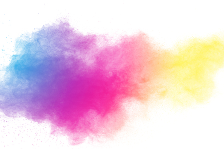 Multi color powder explosion  on white background. Banque d'images - 115991850