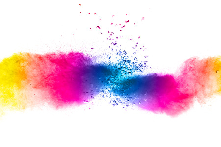 Multi color powder explosion  on white background. Banque d'images - 115991851