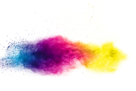 Multi color powder explosion  on white background. Banque d'images - 115991860