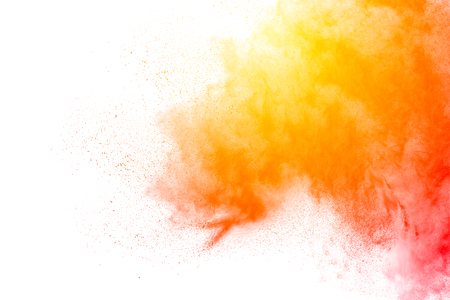 Orange yellow color powder explosion  on white background. Banque d'images - 115991861