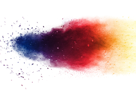 Multi color powder explosion  on white background. Banque d'images - 115991863
