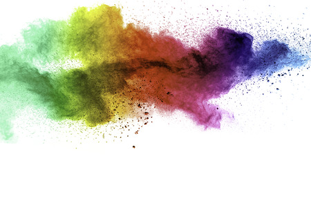 Multi color powder explosion  on white background. Banque d'images - 115992348