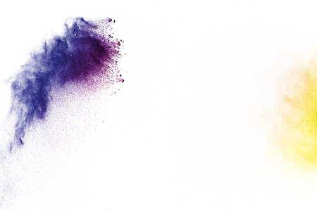 Multi color powder explosion  on white background. Banque d'images - 115992350