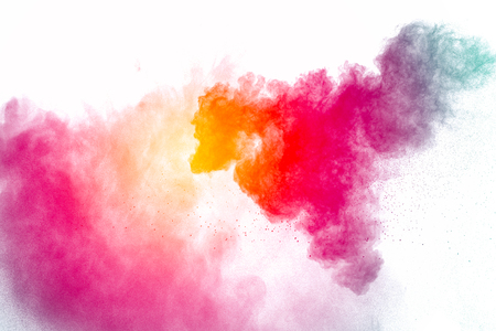 Multi color powder explosion  on white background. Banque d'images - 115992351