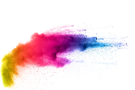 Multi color powder explosion  on white background. Banque d'images - 115992355