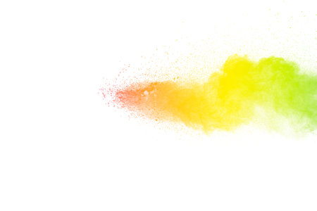 Multi color powder explosion  on white background. Banque d'images - 115992420