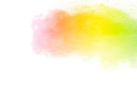 Multi color powder explosion  on white background. Banque d'images - 115992425