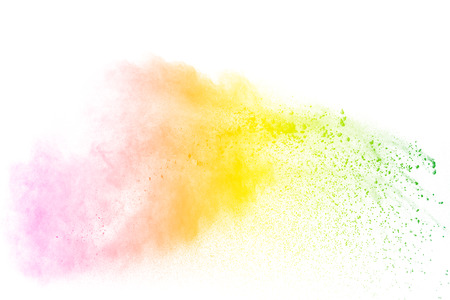 Multi color powder explosion  on white background. Banque d'images - 115992426