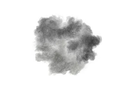 Black powder explosion against white background. Black dust particles splashing. Banque d'images - 115992429