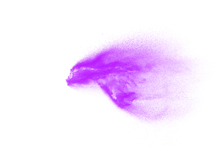 Pink particles splatter on white background. Pink powder exploding. Banque d'images - 115992433
