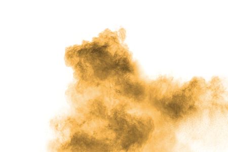 Abstract deep brown dust explosion on white background.  Freeze motion of coffee liked color dust splash. Banque d'images - 115992440