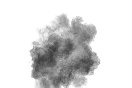 Black powder explosion against white background. Black dust particles splashing. Banque d'images - 115992441