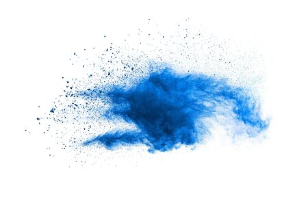Bizarre forms of blue powder explosion cloud on white background. Launched blue dust particles splashing.