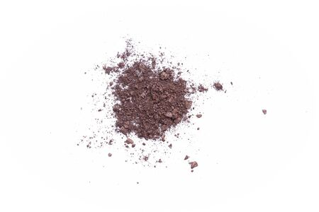 Deep brown crumbled eye shadow isolated on white background.Splatter make up and cosmetic products. 스톡 콘텐츠 - 149302348
