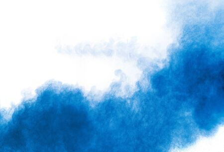 Bizarre forms of blue powder explosion cloud on white background. Launched blue dust particles splashing. 스톡 콘텐츠 - 149302354