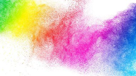 Colorful powder explosion.Bright pastel color dust particles splash.