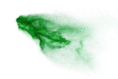 Splash of green colored powder on white background.Green powder explosion. 스톡 콘텐츠