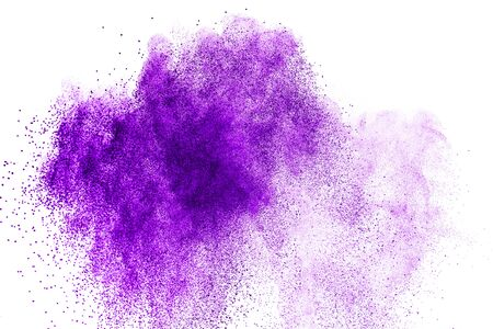 Purple powder explosion. Abstract closeup dust on backdrop. Colorful explode. Paint holi