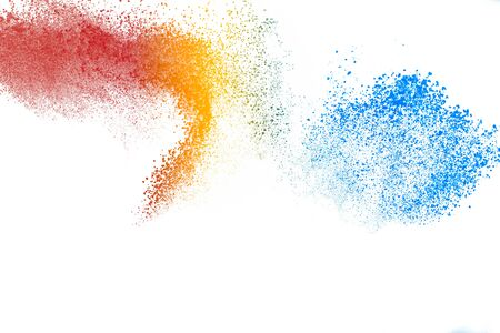 Freeze motion of colored powder explosions isolated on white background. 스톡 콘텐츠