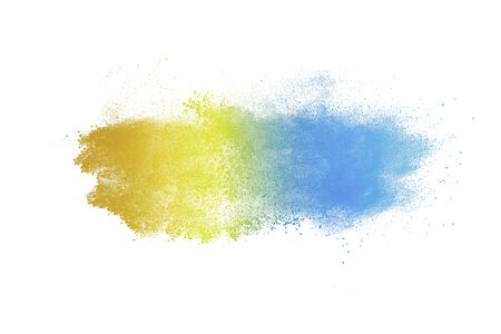 Colored powder explosion. Abstract closeup dust on backdrop. Colorful explode. Paint holi 스톡 콘텐츠 - 149385114